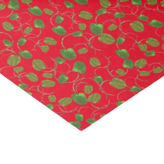 Green Poppy Buds Pattern on Red to Customize Tissue Paper
