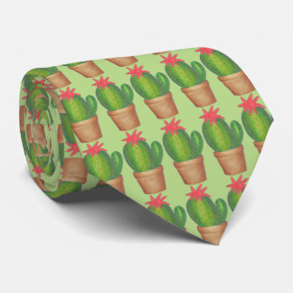 Green Potted Plant Cactus Cacti Gardening Tie