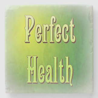 Green Power Words Perfect Health on Marble Coaster