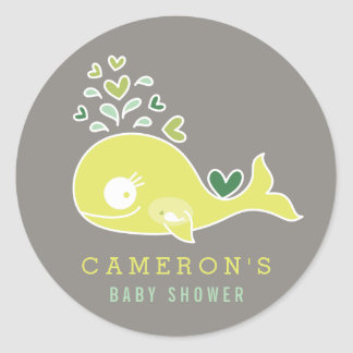 Green Pregnant Mommy Whale Baby Shower Sticker