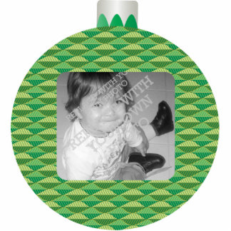 Green Printed Christmas Ball Photo Ornament Frame Photo Sculpture Ornament