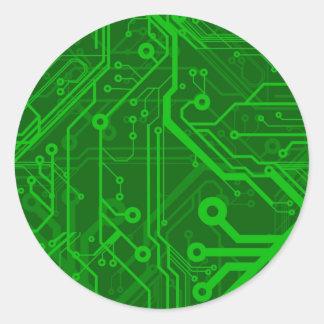 Green Printed Circuit Board Pattern Classic Round Sticker