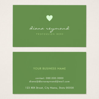 green professional contact-card / love heart business card