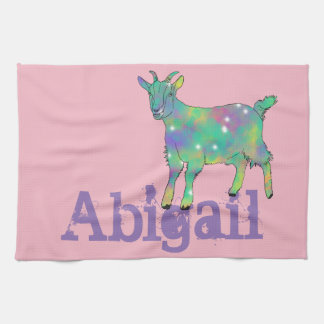 Green Psychedelic Art Goat Design with Your Name Kitchen Towel