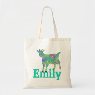 Green Psychedelic Art Goat Design with Your Name Tote Bag