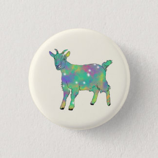 Green Psychedelic Art Goat Funny Animal Design 1 Inch Round Button