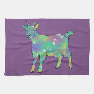 Green Psychedelic Art Goat Funny Animal Design Kitchen Towel