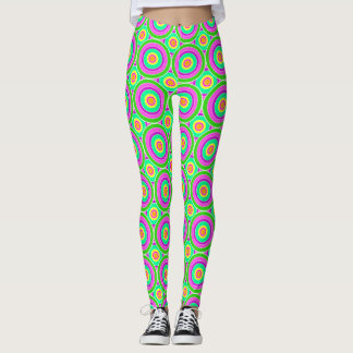Green Psychedelic Circles Leggings