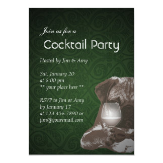 Green Pug & Fine Wine Cocktail Party Invitations