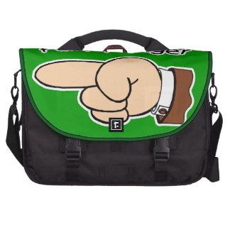 Green Pull My Finger Laptop Bag