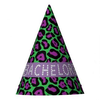 Green/Purpl Leopard Faux Diamond Bachelorette Hats