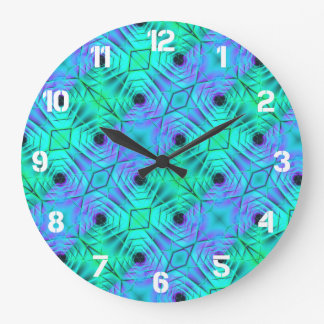 Green Purple And Black Optical Illusion Pattern Large Clock