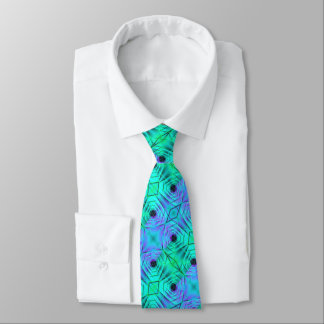 Green Purple And Black Optical Illusion Pattern Tie