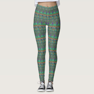 Green, Purple and Brown Patterned Leggings