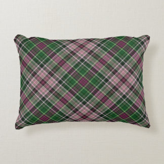 Green purple black tartan accent pillow