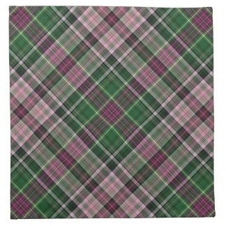 Green purple black tartan napkin