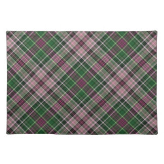 Green purple black tartan placemat