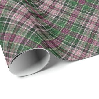 Green purple black tartan wrapping paper