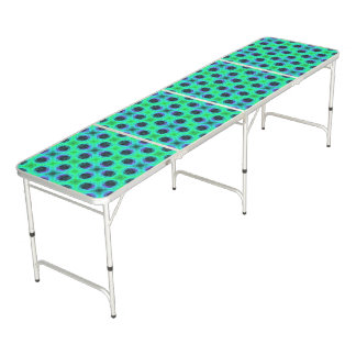 Green Purple Blue Geometric Abstract Beer Pong Table
