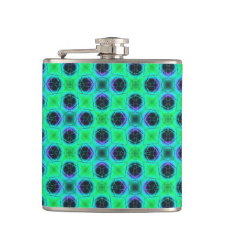 Green Purple Blue Geometric Abstract Hip Flask