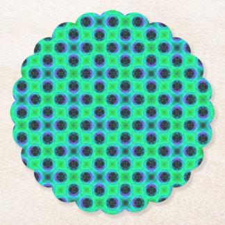 Green Purple Blue Geometric Abstract Paper Coaster