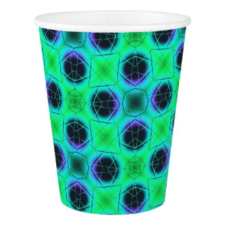 Green Purple Blue Geometric Abstract Paper Cup