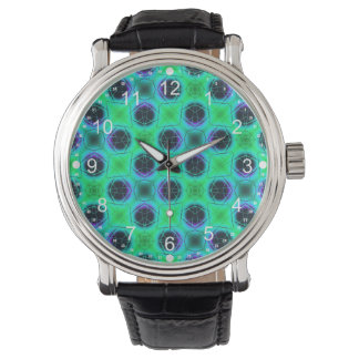 Green Purple Blue Geometric Abstract Watch
