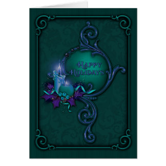 Green & Purple Candlelight Christmas Card