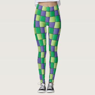 Green Purple Checked Leggins Leggings