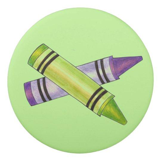 Green Purple Crayon Personalized School Supply Art Eraser