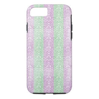 Green Purple Damask Ribbon Candy Lines Kawaii iPhone 7 Case