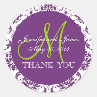 Green Purple Damask Wedding Favor Thank You Round Sticker