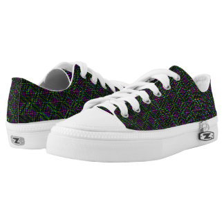 Green Purple Diamond Abstract Art Pattern, Low-Top Sneakers