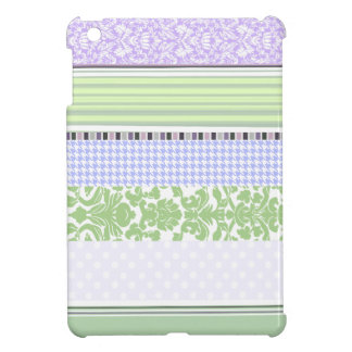 Green & purple girly stripe pattern iPad mini cover