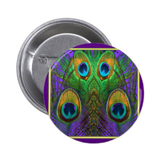 Green-Purple-Gold Peacock Feathers gifts 2 Inch Round Button