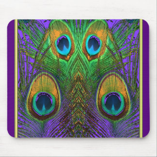 Green-Purple-Gold Peacock Feathers gifts Mouse Pad