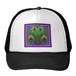 Green-Purple-Gold Peacock Feathers gifts Trucker Hat