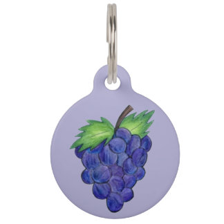Green Purple Grape Bunch of Grapes Fruit Dog Tag Pet ID Tag