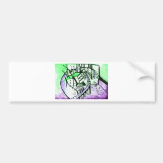 green & purple Landscape Bumper Sticker