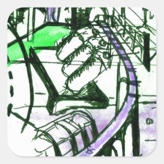 green & purple Landscape Square Sticker