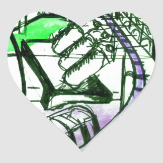 green & purple Landscape Heart Sticker