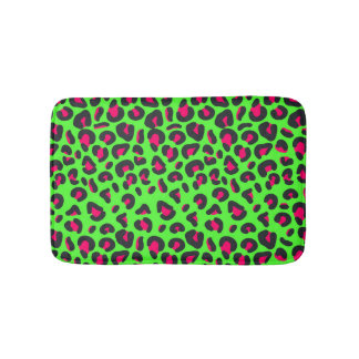 Green Purple Leopard Animal Print Bath Mat