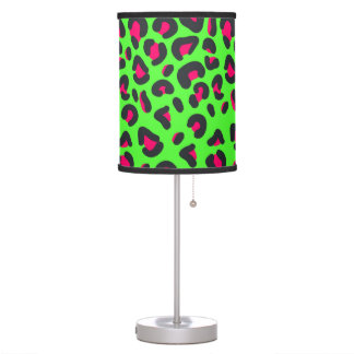 Green Purple Leopard Animal Print Desk Lamps