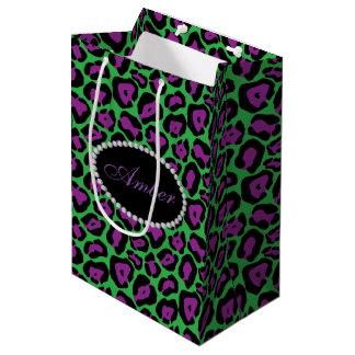 Green & Purple Leopard,  Diamonds & Name Monogram Medium Gift Bag