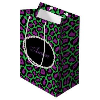 Green & Purple Leopard, Pearls & Name Monogram Medium Gift Bag