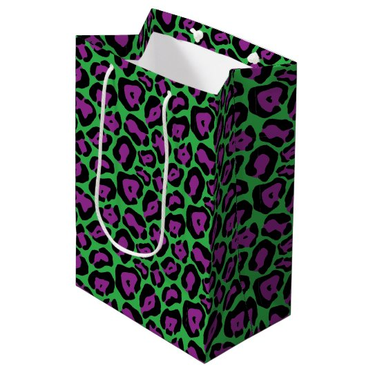 Green & Purple Leopard Print Gift Bag