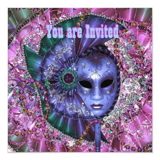 """Green Purple Masquerade Party 5.25"""" Square Invitation Card"""