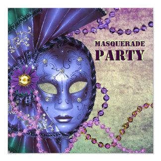 Green Purple Masquerade Party Card
