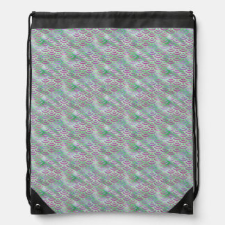 Green Purple Mermaid Pastel Pattern Drawstring Bag