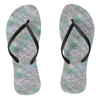 Green Purple Mermaid Pastel Pattern Flip Flops